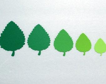 """Green Paper  leaf die cuts / Paper leaf die cuts / Green shade leaves/ 50 pc set/ sizes 1""""-8"""""""