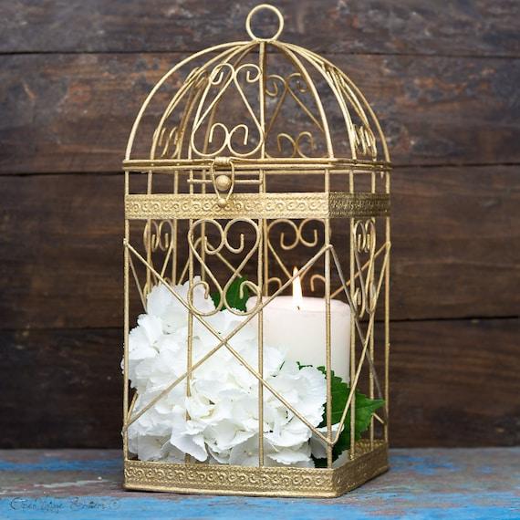 Gold christmas home decor christmas decorations antique gold - Cage a oiseau decorative ...