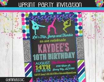 Gymnastics Invitation - Gymnast Birthday Party - Acrobat Invite - Printable