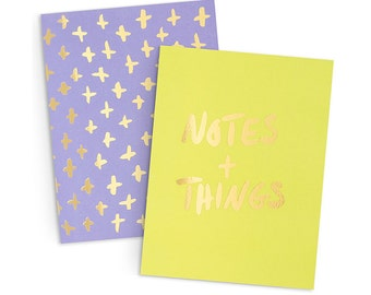 Gold Foil Notebooks | Set of 2 Pocket Notebooks | Notes & Things and Swiss Cross Pattern