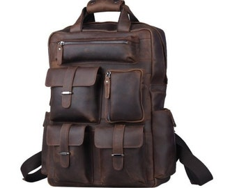 Rugged Handcrafted Distressed Buffalo Leather Briefcase / Backpack / Laptop Case - BP