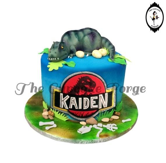 Dinosaur Cake Decorating Kit : Dinosaur T Rex hand made COMPLETE cake by TheCupcakeForge ...