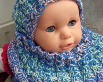 Blue/Green/Pink/Orange bonnet + matching colletje for baby from 0-4 years
