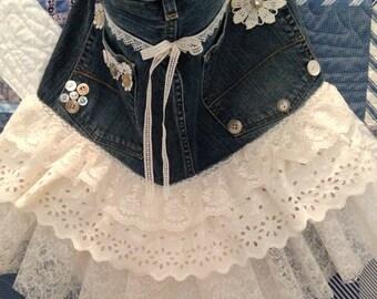 Apron upcycled denim lace ruffles kitchen lingerie