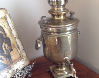 Antique Samovar Russian with Imperial Eagle and Award Stamps from 1908-1910, Brass Samovar, Imperial Russian Tea Samovar, Historic Tea Pot