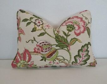 """12"""" x 17.5"""" Pink Flower on Cream Linen Lumbar Pillow Cover"""