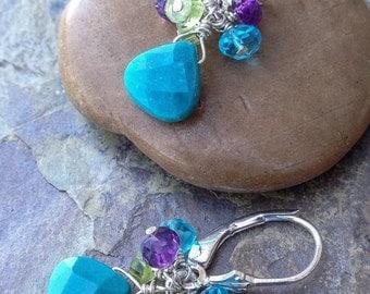 Turquoise earrings with amethyst, peridot, apatite, sterling silver. Gemstone earrings, handmade.