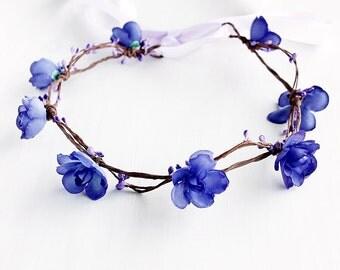 Purple Flower Crown, Flower Girl Halo, Floral Crown, Boho Crown, Purple Circlet, Woodland Halo, Rustic Crown, Purple Hair Wreath, Girls Halo