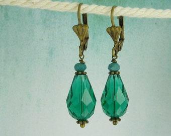 Earrings crystal drops turquoise