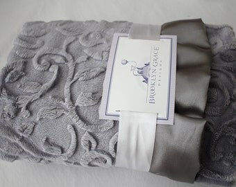 Plata Gray Embossed Vine Minky Blanket -  Baby Minky Blanket - Infants and Toddlers - Kids, Crib Bedding, Nursery