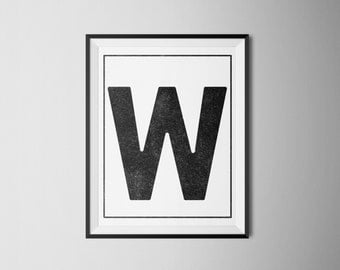 "INSTANT DOWNLOAD Letter ""W"" Printable Monogram, art print 8x10"