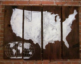 Large U.S. Map with Small World Map - Hand Painted Wood Sign