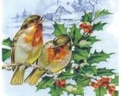 Decoupage Napkins | Bullfinches with Mistletoe in Winter | Bird Napkins | Winter Napkins Christmas Napkins Paper Napkins for Decoupage