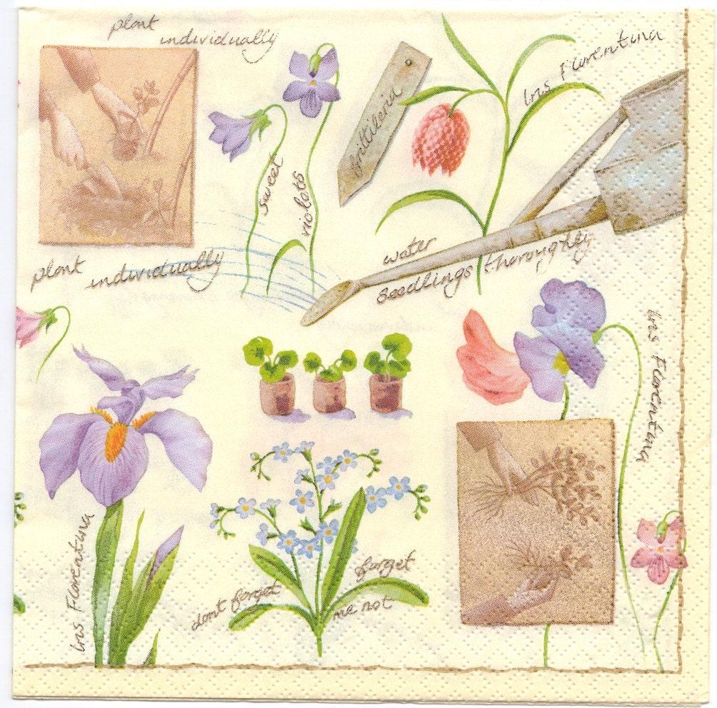 Decoupage Napkins Flower Garden Irises Violets