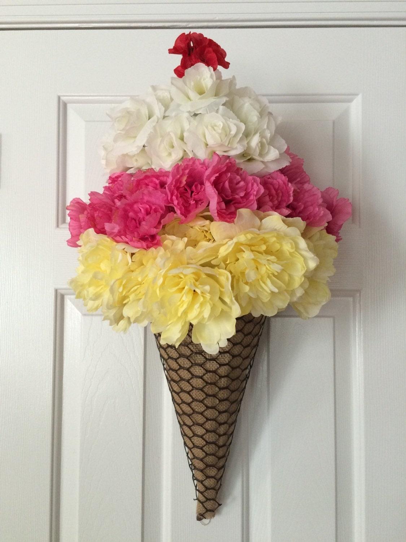 Ice Cream Cone Wreath Summer Wreath Ice Cream Door Hanger