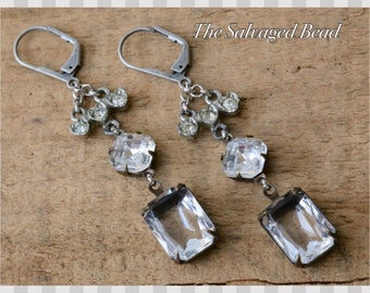 Vintage Bridal Baguette Rhinestone Assemblage Earrings, circa 1950's by The Salvaged Bead