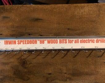 Vintage Display - Irwin Speedbor Drill Bit Peg Board Display