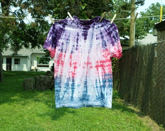 Purple Pink and Blue Tye Dye Tshirt, Medium Cotton Tie Dye Top,  Hand Dyed Med Fruit of the Loom T-shirt Pink Blue and Purple