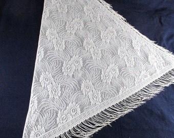 Vintage Ivory Lace Fringed Shawl