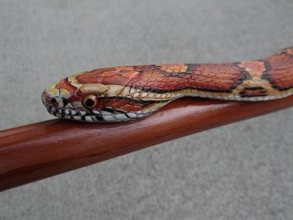 Hand carved corn snake walking stick