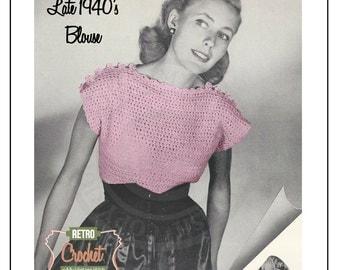 1940s Vintage Crochet Blouse Pattern - PDF Instant Download