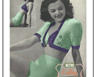 1940s Sun Top, Briefs & Bolero  Vintage Knitting Pattern - PDF  Instant Download