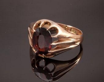 Vintage Gold Garnet Ring, Rose Gold Ring, Size 4 to 5