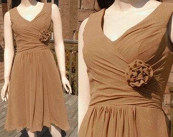 Brown bridesmaid dress, brown mullet dress, tan bridesmaid dress