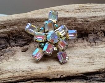 Star Emerald cut AB Aurora Borealis starburst brooch