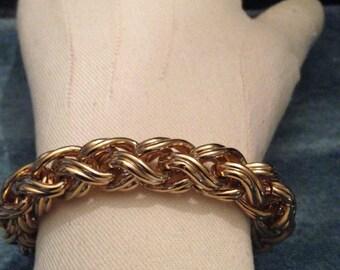 Antique gold bracelet,Vintage designer bracelet,Heavy woven gold bracelet, Monet vintage jewelry,Bridal bracelet,Bold look bracelet,