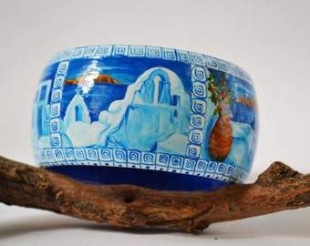 Hand painted Bracelet Wooden Bracelet Hand painted Bangle Greek style Types of Greek Islands. Made to order.