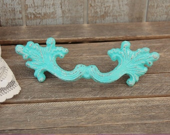 """French Drawer Pulls, Shabby Chic, Aqua, Turquoise, Ornate, Hand Painted, French Provincial, Drawer Pulls, 4 1/8"""" Center, Cast Iron, Handles"""