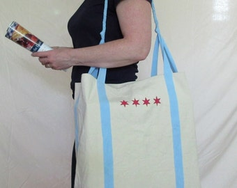 Big Shoulders bag - Chicago flag inspired - cotton denim tote bag