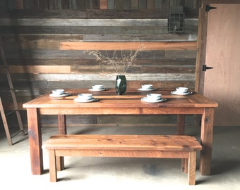 Reclaimed Wood Farmhouse Dining Table - Polished Finish
