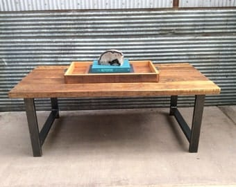 Reclaimed Wood Coffee Table / Industrial Metal H-Shaped Legs / Barnwood Coffee Table
