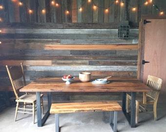 Industrial Modern Reclaimed Wood Dining Table / U-Shaped Metal Legs