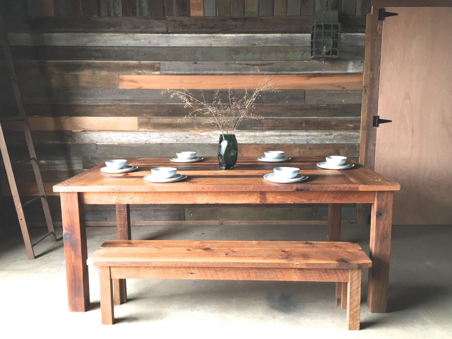 Reclaimed Wood Farmhouse Dining Table Polished Finish By Wwmake