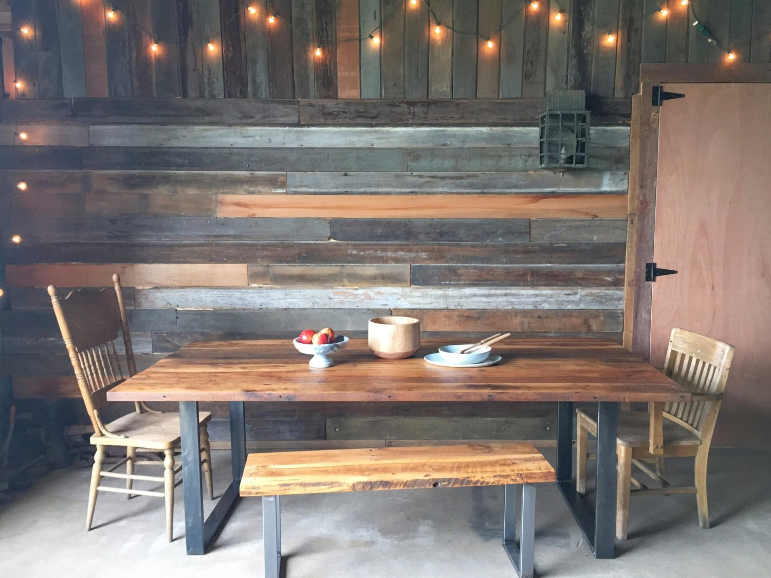 Industrial Modern Reclaimed Wood Dining Table / U-Shaped Metal