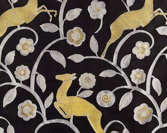 Les Gazelles Au Bois - Pillow in Noir