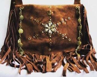 Brown fringe boho bag