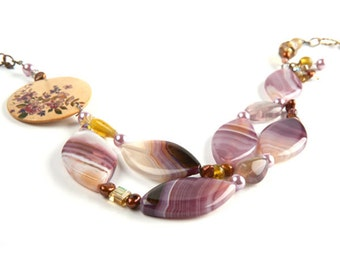Emma Purple Polished Glass With Freshwater Pearls Necklace
