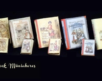 Vintage Miniature Cooking Books for Dolls - 1/12 or 1/24 - SET 1 choose the ones you like