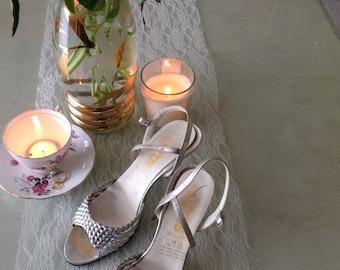Vintage 80's Silver lady stiletto sandal -size 5