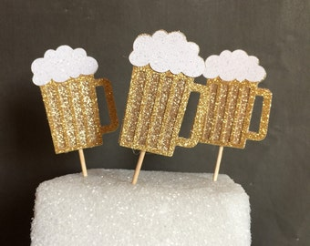 Beer mug cupcake toppers, 30th birthday party decor, 40th birthday party decor, 50th birthday party decor