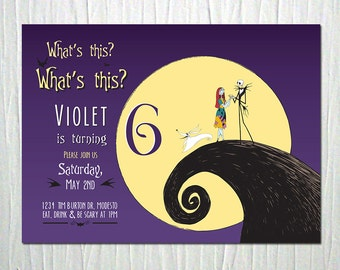 Nightmare Before Christmas Birthday Party Invitation - Digital File