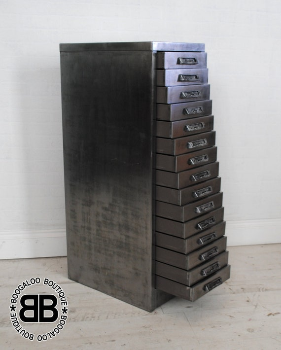Upcycled stor vintage industrial filing cabinet polished Upcycled metal filing cabinet