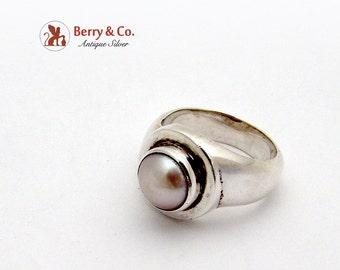 Vintage Ring Pearl Sterling Silver