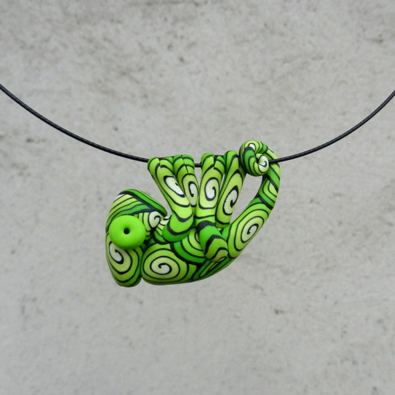 Hand made polymer clay cute GREEN chameleon pendant by ...