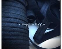 5yds Elastic Ribbon Fold Over Elastic Black  HeadBands Ponytail 5/8 inch 15mm FOE Stretch Trim