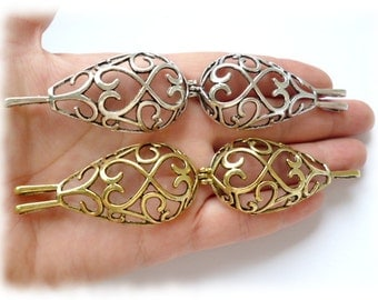 Silver and Gold Cage Pendant_CS65767869BG_ Cage Filigree Drop AnCA_of 2.8 x 1.4 in_1 pcs